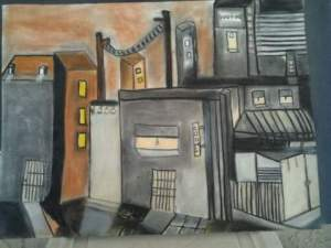 Rooms For Rent18 X 24  Charcoal and Pastel Drawing