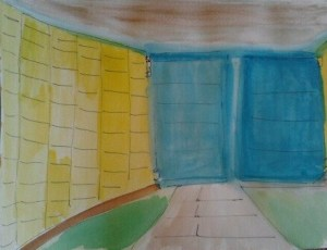 6 X 8  Watercolor and Pen Blue,Green, Yellow, White, Brown, Blue-Green