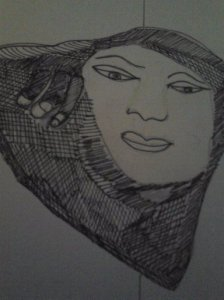 THE FACE, CROSS HATCHING DRAWING 2015