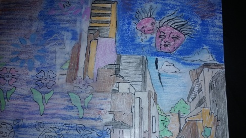 Oil Pastel and Ink A City In Tears c2016