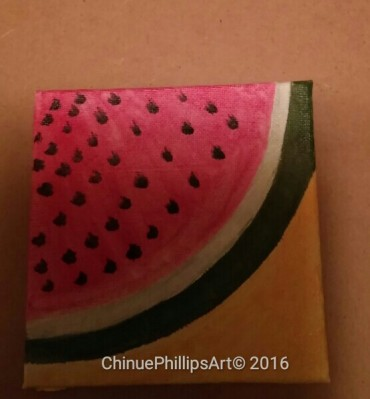 Fruit Seriers/Small Art Series 4 X 4 Oil on Canvas Watermelon